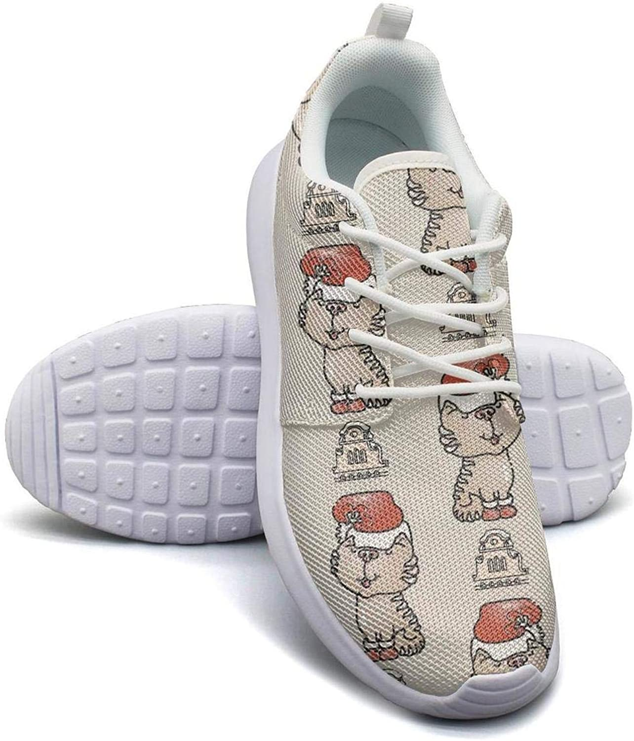 Gjsonmv Black Background Snowman Christmas mesh Lightweight shoes for Women lace up Sports Cycling Sneakers shoes