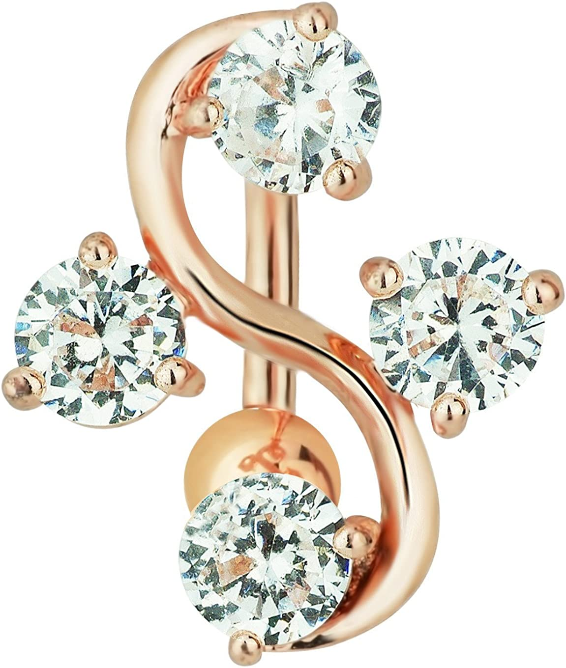 Forbidden Body Jewelry Surgical Steel Rose Gold IP Sexy Vine Reverse Mount CZ Crystal Belly Button Ring
