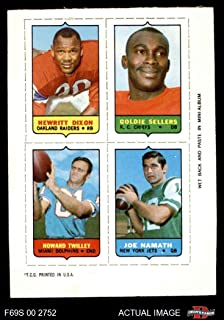 1969 Topps 4-in-1 Football Stamps Hewritt Dixon/Goldie Sellers/Howard Twilley/Joe Namath (Football Card) Dean's Cards 5 - EX