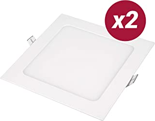 POPP- Pack 2 Downlight LED Extraplano Cuadrado Blanco,chip OSRAM Iluminacion LED Plafón de Techo (6000K, 12W)