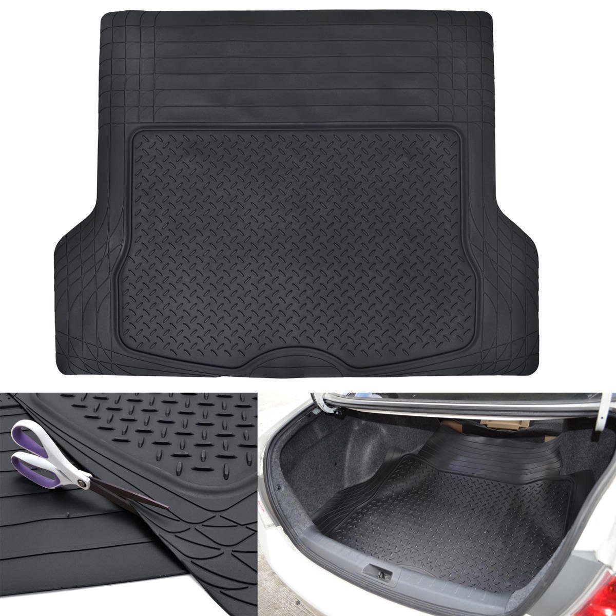 BDK-MT-785 Heavy Duty Cargo Liner Floor Mat-All Weather Trunk Protection, Trimmable to Fit & Durable HD Rubber Protection for Car SUV Sedan Auto - Black