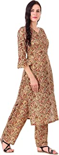 MEVE Cotton Kurta and Palazzo Set for Women in Brown Floral Design