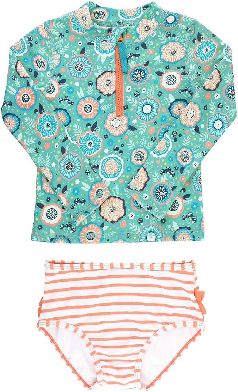 RuffleButts Girls Long Sleeve Rash Guard 2 Piece Swimsuit Set w//UPF 50 Sun Protection with Zipper