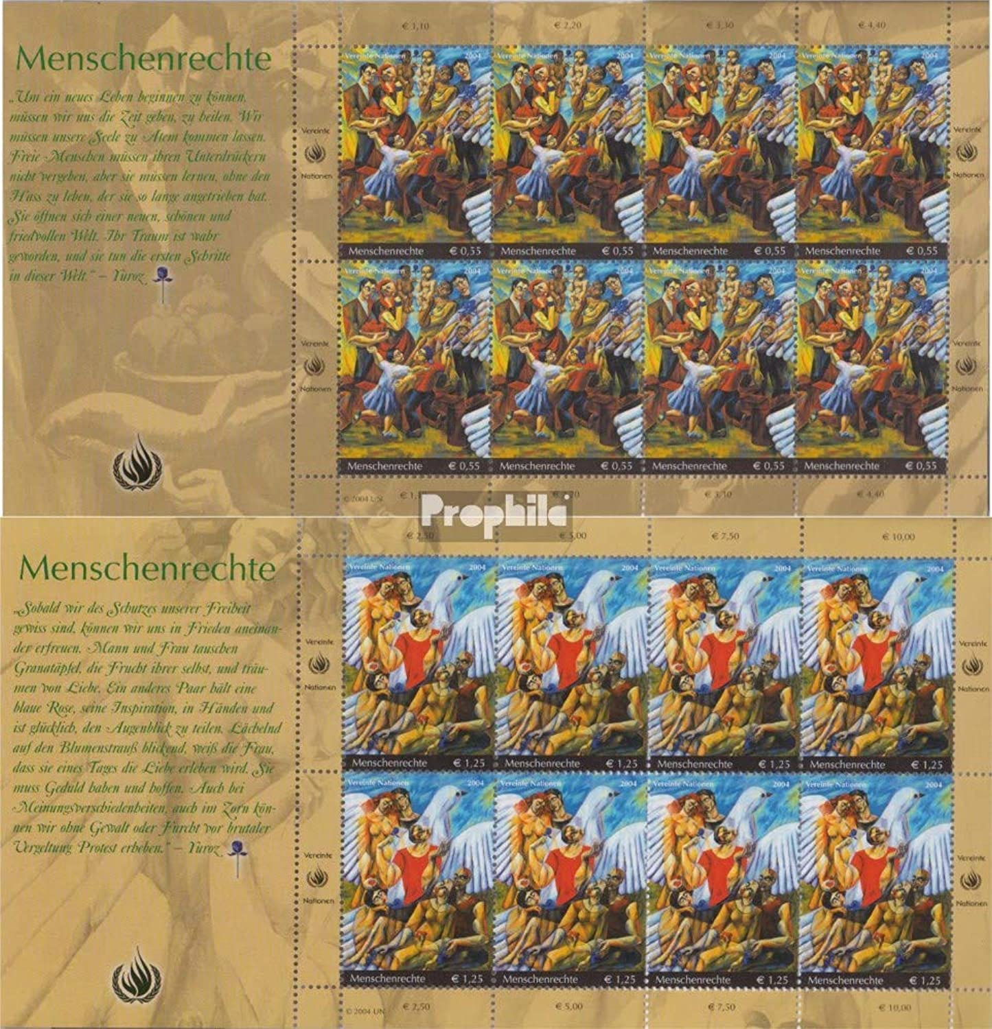 UN  Vienna 430Klb431Klb Sheetlet (complete.issue.) 2004 Human Rights (Stamps for collectors) painting