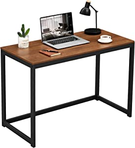 Alecono Small Computer Desk 39 inch Study Writing Desk for Small Space Simple Home Workstation Office Tiny Desk Student PC Gaming Table with Metal Frame Walnut