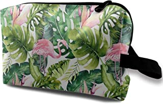 Tropical Leaves And Flamingo Travel Makeup Cute Cosmetic Case Organizer Portable Storage Bag for Women