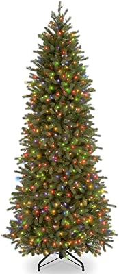 National Tree Company 'Feel Real lit Artificial Christmas Tree-Includes Pre-Strung Multi-Color Lights and Stand-Jersey Fraser Fir Slim-7.5 ft