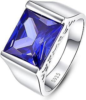 خاتم رجالي من BONLAVIE مكون من 10 قطع مربع الشكل بلون أزرق من تنزانيت 925 من الفضة الاسترلينية خاتم الخطوبة مقاس 6-14