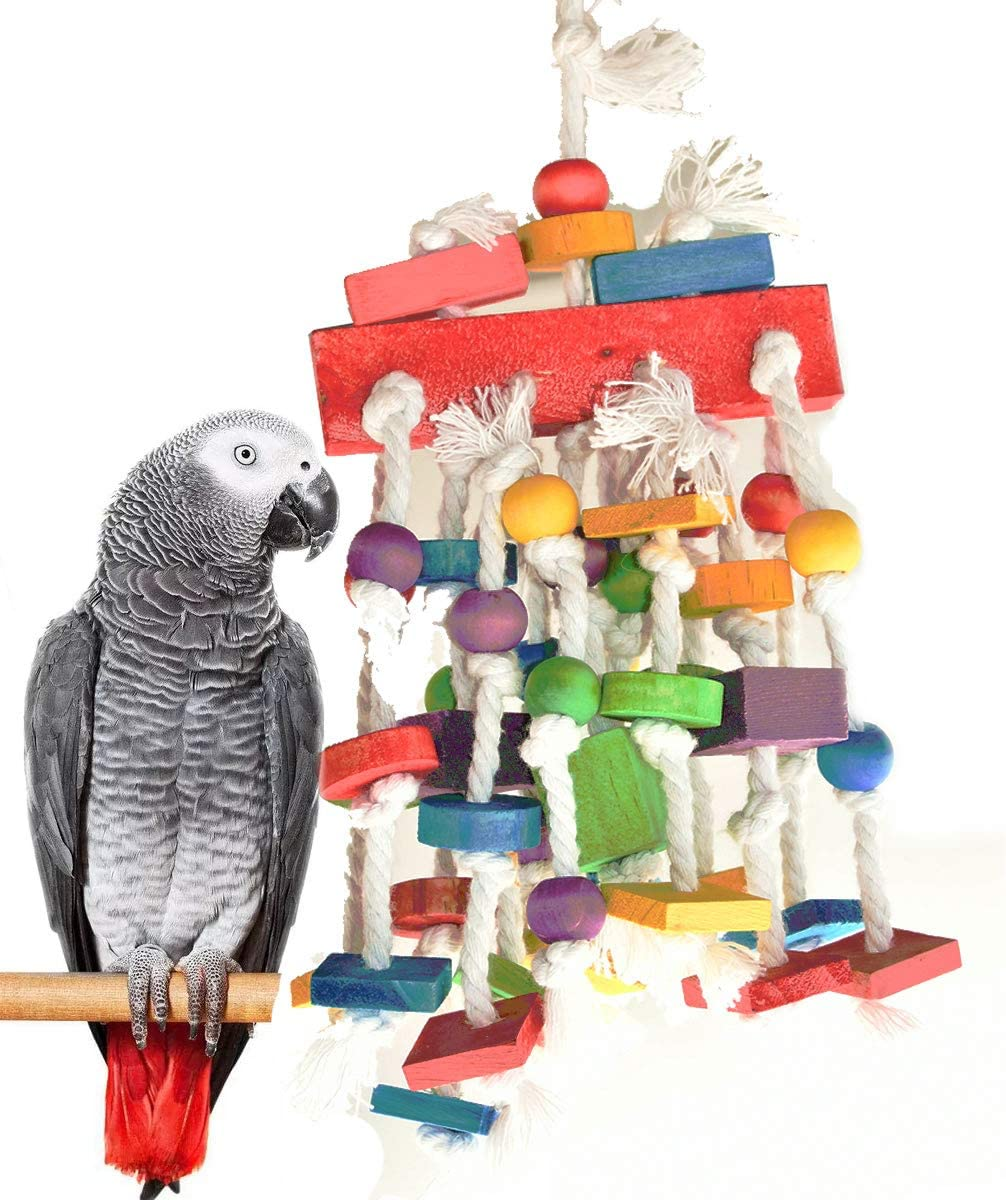 Mrli Pet Bird Chewing Toys, Parrot Cage Bite Toys - Multicolored Natural Wooden Knots Blocks Waterfall Bird Tearing Entertaining Toys Suggested for Cockatoos Parakeet and Variety of  : Pet Supplies