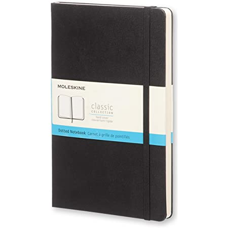 """Moleskine Classic Notebook, Hard Cover, Large (5"""" x 8.25"""") Dotted, Black, 240 Pages"""