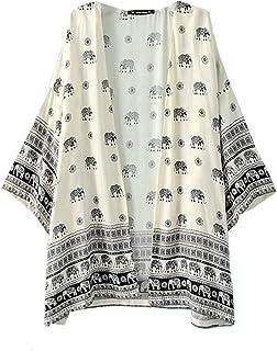 Relipop Women's Sheer Chiffon Blouse Loose Tops Kimono...