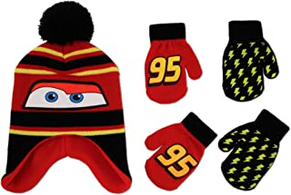 Cars Hat and 2 Pair Mittens or Gloves Cold Weather Set, Little Boys, Age 2-7