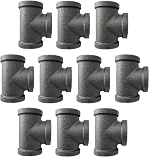 IBEUTES 10-Pack Black Malleable Iron Cast Black Pipe Fittings 1/2 Inch Pipe Tee, DIY Pipe Furniture, 1/2 Inch Threaded Pipe Nipples Industrial Piping