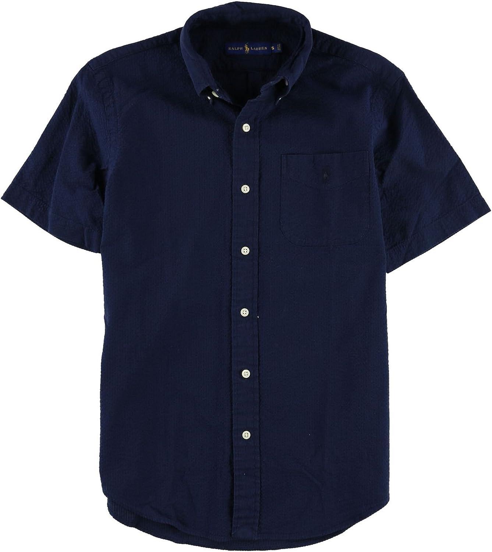 845e2cee Ralph Lauren Mens Mens Mens Seersucker Button Up Shirt Navy S ba4212 ...