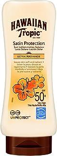 HAWAIIAN Tropic Satin Protection Ultra Radiance - Loción Solar de Protección Alta índice SPF 50+ protege y suaviza la pi...
