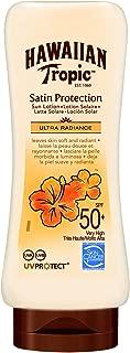 Hawaiian Tropic Satin Protection Ultra Radiance - Loción Solar de Protección Alta, índice SPF 50+, protege y suaviza la piel, fragancia Frutas Tropicales, 180 ml