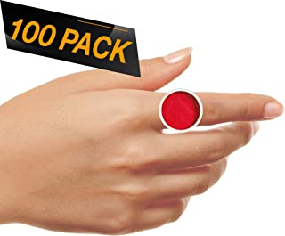 100 Pack - Makeup Rings Tattoo Ink Rings Cups Makeup Glue Ring Cup Disposable Glue Holder Plastic Tattoo Ink Pigment Ring Adhesive Makeup Rings Palette for Eyelash Extension Nail - Large Size