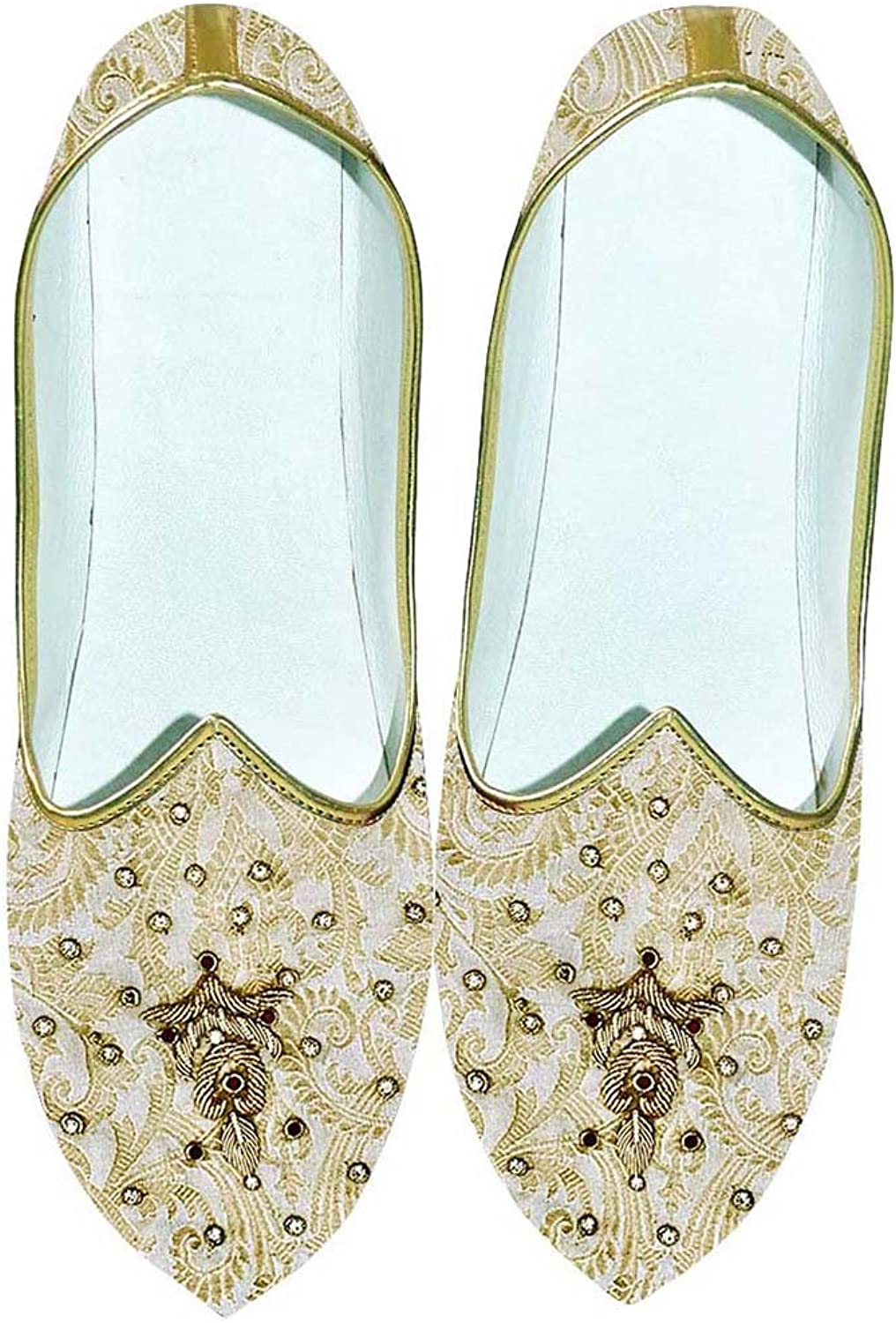 INMONARCH Mens Cream and golden Wedding shoes Embroidered MJ0707