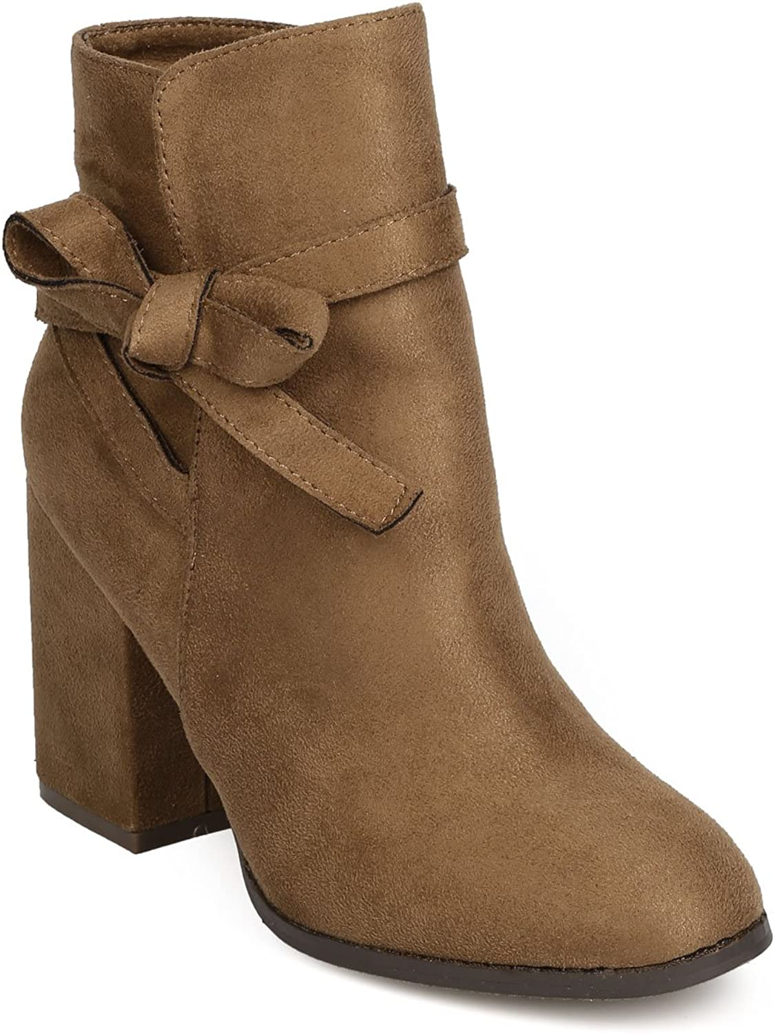 Alrisco FE13 Women Faux Suede Bow Tie Chunky Heel Ankle Boot - Taupe