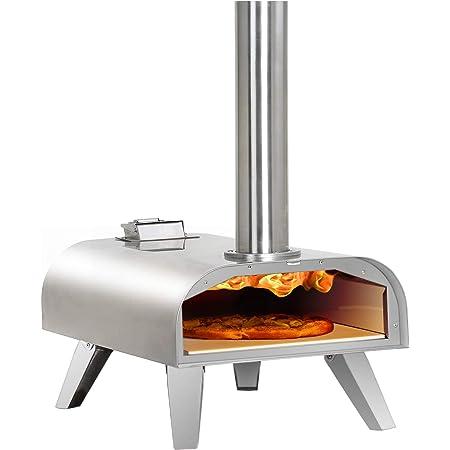 BIG HORN OUTDOORS Pizza Oven Outdoor Wood Pellet Burning, Portable Stainless Steel Pizza Maker for Garden, Outside, Backyard