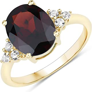 JOHAREEZ 10kt Gold Garnet Ring - 3.64 Carat Natural Garnet Oval and White Topaz Ring in 10kt Yellow Solid Gold for Women -...