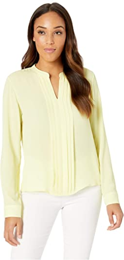 Pleated Center Front Long Sleeve Woven Top