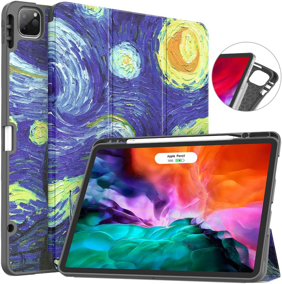 Soke New iPad Pro 12.9 Case 2020 & 2018 with Pencil Holder - [Full Body Protection + Apple Pencil Charging + Auto Wake/Sleep], Soft TPU Back Cover for 2020 iPad Pro 12.9(Starry Night)