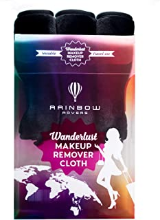 RAINBOW ROVERS Set of 3 Makeup Remover Wipes | Reusable & Ultra-fine Makeup Wipes | Suitable for All Skin Types | Removes Makeup with Water | Free Bonus Waterproof Travel Bag | Black