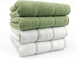 HONNIYOYOタオル フェイス プレゼント 耐久性抜群 厚手 ふわふわ 抗菌防臭 約34×75cm重さ約100g一枚あたり緑