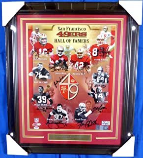 SAN FRANCISCO 49ERS HALL OF FAMERS AUTOGRAPHED FRAMED 16X20 PHOTO WITH 10 SIGNATURES INCLUDING JOE MONTANA, JERRY RICE & STEVE YOUNG PSA/DNA STOCK #126651