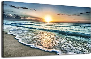 Waves Canvas Wall Art Beach Sunset Ocean Nature Pictures Long Canvas Artwork Prints Contemporary Wall Art Decor for Home Living Room Bedroom Decoration Office Wall Decor Framed Ready to Hang 20