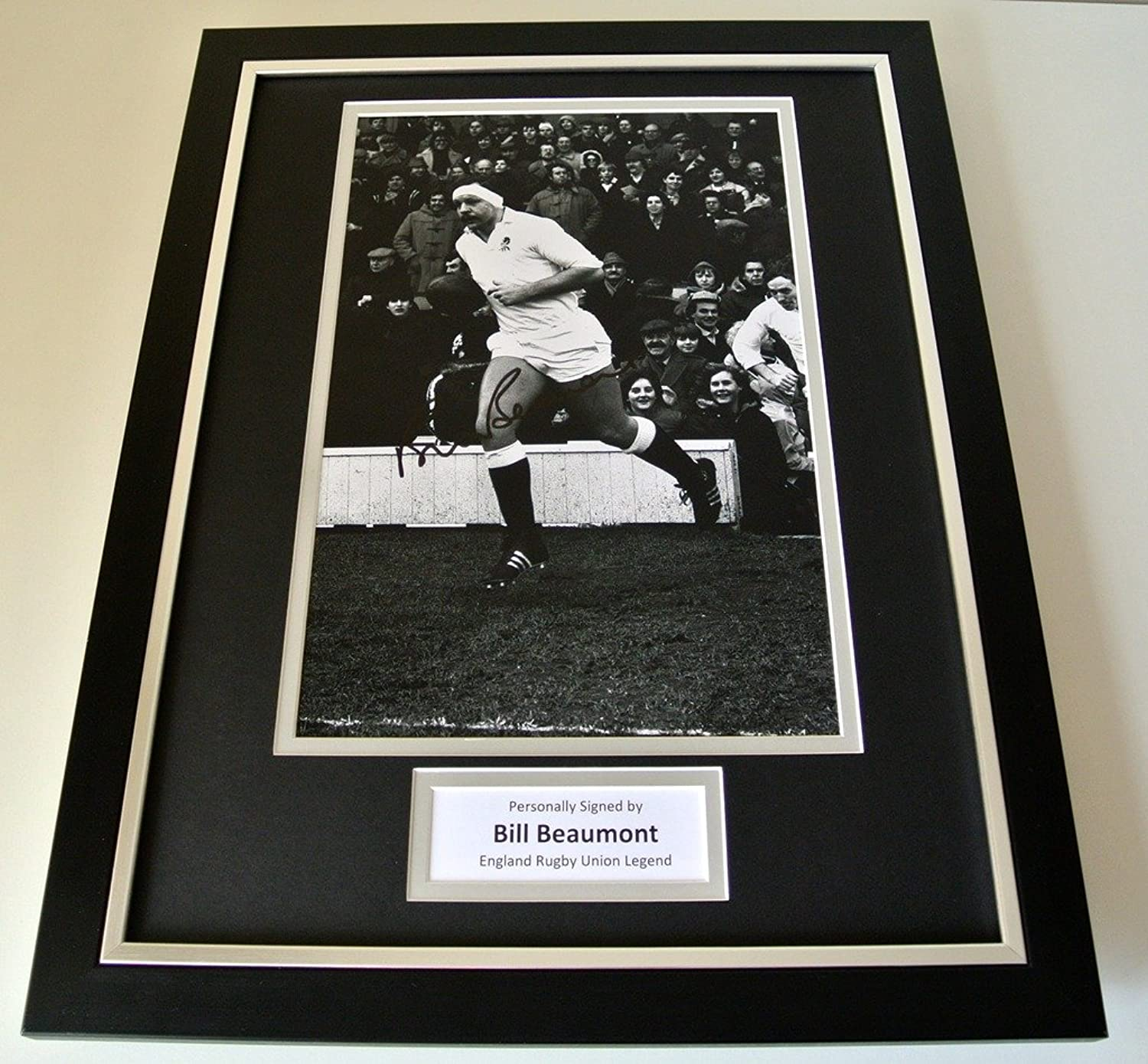 Sportagraphs Bill Beaumont Signed FRAMED 16x12 Photo Mount display England Rugby PROOF COA PERFECT GIFT