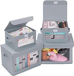 DIMJ Cajas de almacenaje Plegable, Conjunto de 4 Cajas Organizadoras Tela, Cubos de Almacenamiento con Ventana Transparent...