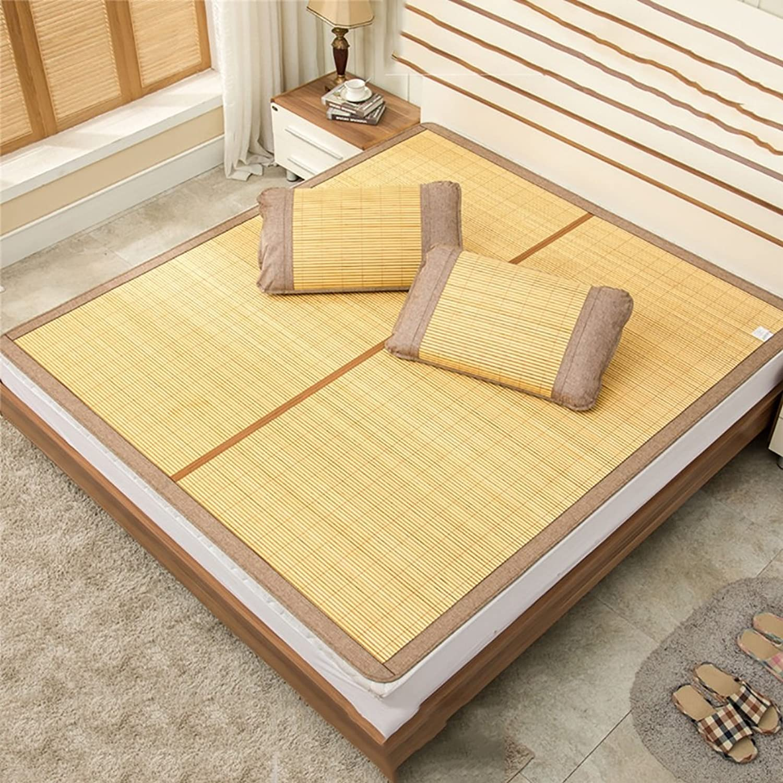 HAIPENG Bamboo Summer Sleeping mats Mats Foldable Non-Slip Breathable Bamboo mats Dormitory Home Individual 2 People Three-Piece (color   B, Size   120190cm)