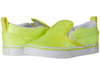 Vans Kids Slip-On V (Infant/Toddler) ((Neon Glitter) Yellow/True White) Girls Shoes