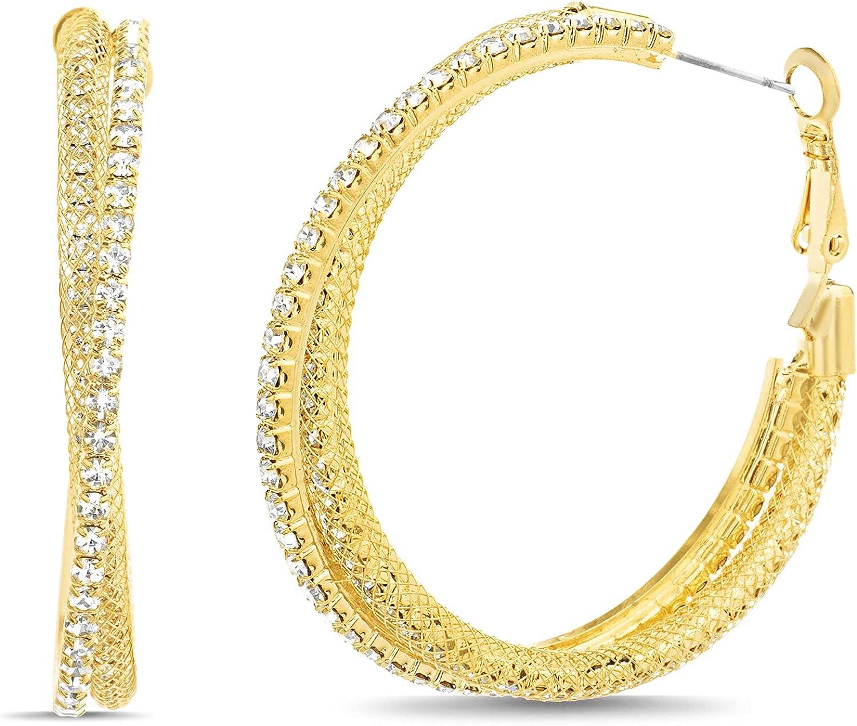 Steve Madden 45mm Textured Rhinestone Hoop Earrings for Women