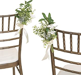 Ling's moment Greenery Wedding Aisle Decorations for Wedding Chair Decorations Set of 8 with Babysbreath Eucalyptus
