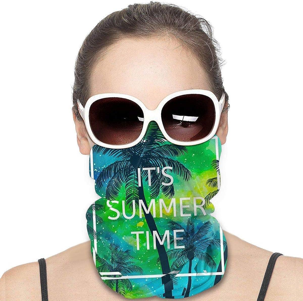 KiuLoam Women Bandanas Face Mask, Hello Summer Time Palm Tree Neck Gaiter Mask Headband for Men Face Scarf Dust, Outdoors, Sports