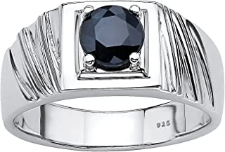 Men's Sterling Silver Round Genuine Blue Sapphire Grooved Ring