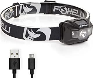 Foxelli USB Rechargeable Headlamp Flashlight - 180 Lumen, up to 40 Hours of Constant Light on a Single Charge, Bright Whit...