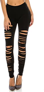 Full Length Elastic Hole Cut Out Ripped Stretch Leggings Tights (also in Plus Size)
