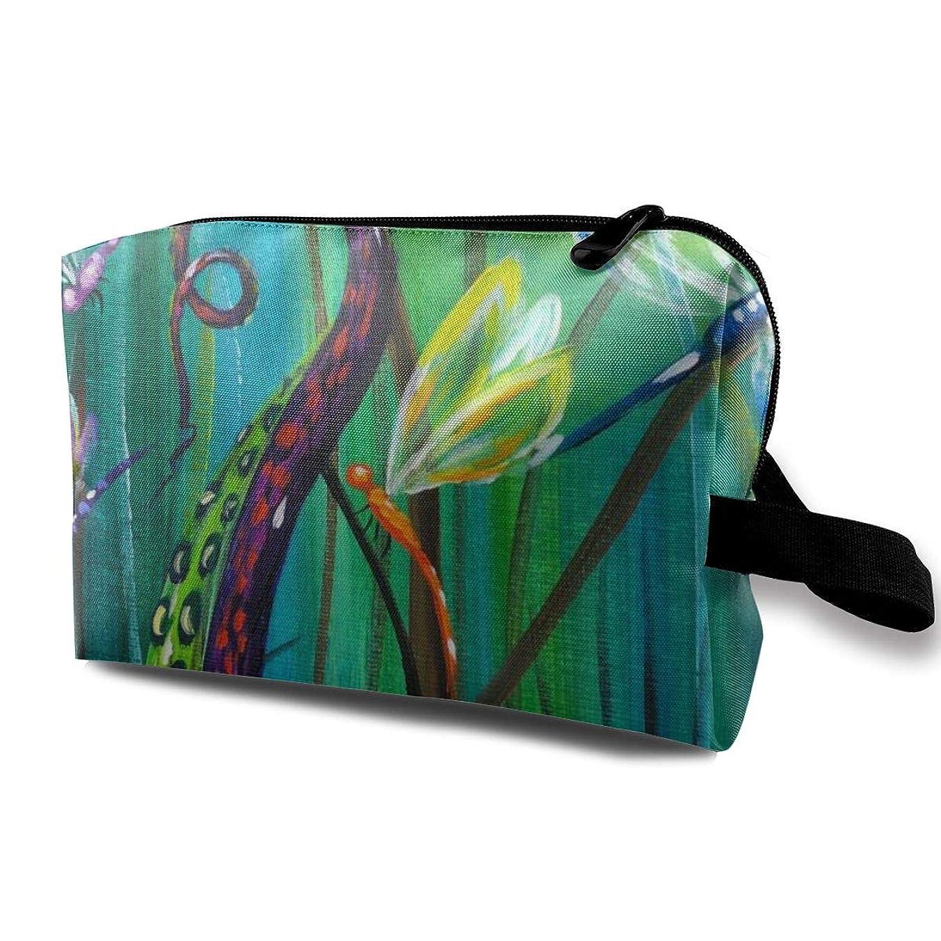 丁寧膨らませる著作権タコ触手トンボ 化粧バッグ 収納袋 女大容量 化粧品クラッチバッグ 収納 軽量 ウィンドジップ