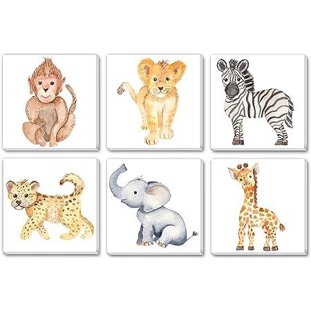 "TEXTURE OF DREAMS Watercolor Cute Baby Africa Jungle Animals Print on Canvas Wall Art, Lion Monkey Elephant Giraffe Leopard Zebra, Safari Wild Animals Nursery Boy Room Decor 6 Pack (10"" x 10"")"