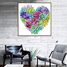 DIY 5D Diamond Painting Kit, BENBO 15.8x11.8In Full Drill Heart Shaped Succulent Plants Diamond Painting by Numbers Embroi...