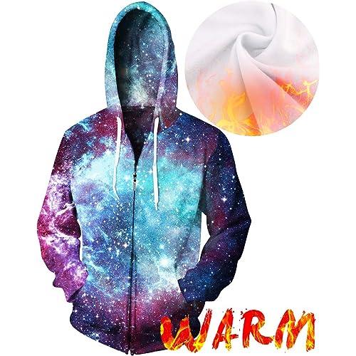 3fcc730955b3 sankill Unisex 3D Galaxy Zipper Hoodie Sweatshirt Fleece Pullover Hooded  Shirts Pocket