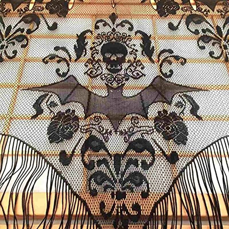 JUIOKK Black Gothic Lace Tassel Skull Bat Valance Tulle Topper Shawl Fabric Tablecloth Halloween Haunted House Party Curtain 96 5x102cm