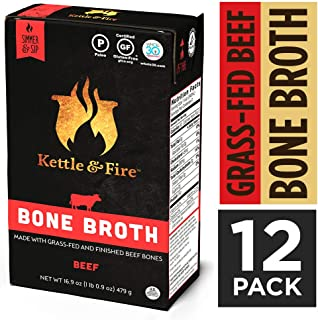 Beef Bone Broth by Kettle and Fire, Pack of 12, Keto Diet, Paleo Friendly, Whole 30 Approved, Gluten Free, with Collagen, 10g of protein, 16.9 fl oz (Packaging May Vary)