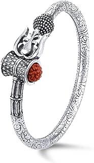 Nemichand Jewels 925 Pure Silver Rudraksha Damroo Trishul Kada
