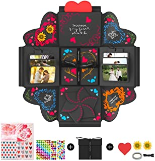 DOGAR Creative Explosion Gift Box, Assembled DIY Handmade Surprise Box, Love Picture Box as Birthday Gift, Wedding Gifts, Anniversary or Valentine's Day - Black