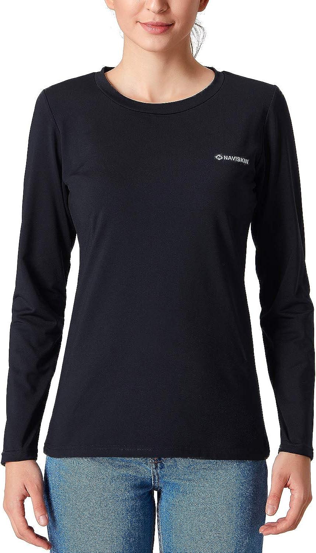 Naviskin Women's Fleece Thermal Mock Neck Long Sleeve Shirt Running Workout Outdoor Shirt